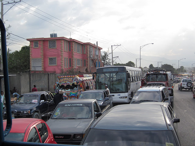 Leaving Port-au-Prince, the traffic is heavy