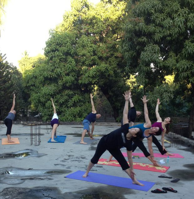 Sunrise yoga on the roof